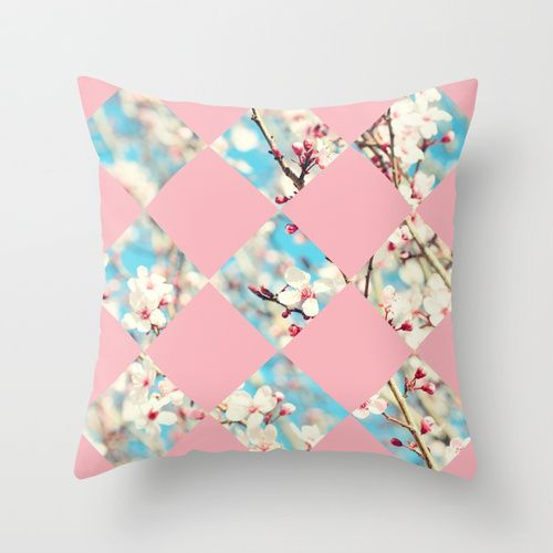 Pink Ladies Throw Pillow Cover by Lisa Argyropoulos (pillow insert available for purchase with cover)  #pillow #cover #pink #blue #Spring #Blossoms #decor