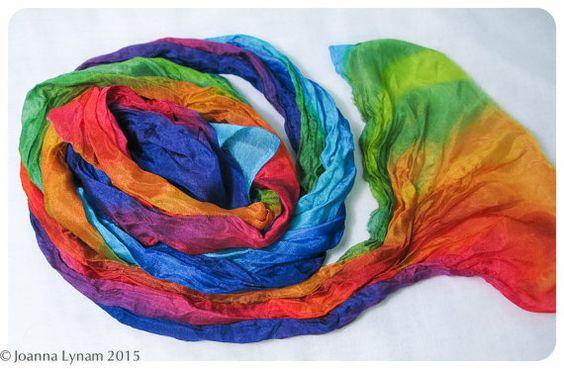 Rainbow Silk Scarf / Hand painted silk scarf. OOAK. by SirenSilks