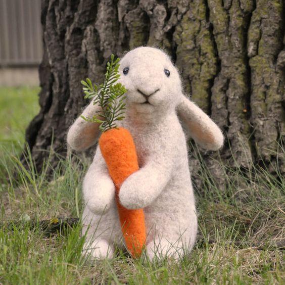 Handmade Needle Felted Wool Rabbit Bunny by BinneBear on Etsy  From BinneBear on Etsy