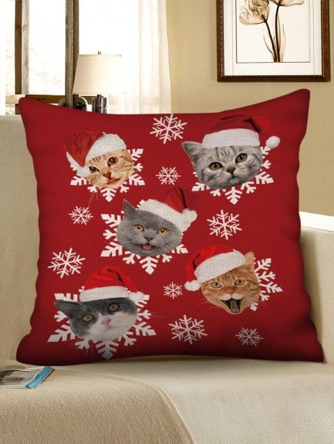 Christmas Hat Cat Snowflake Print Pillowcase Gunstige Kissen