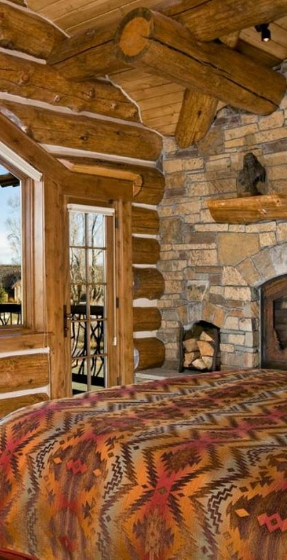 Big sky lodge style rustic bedrooms cabin and logs - Log cabin bedroom decorating ideas ...