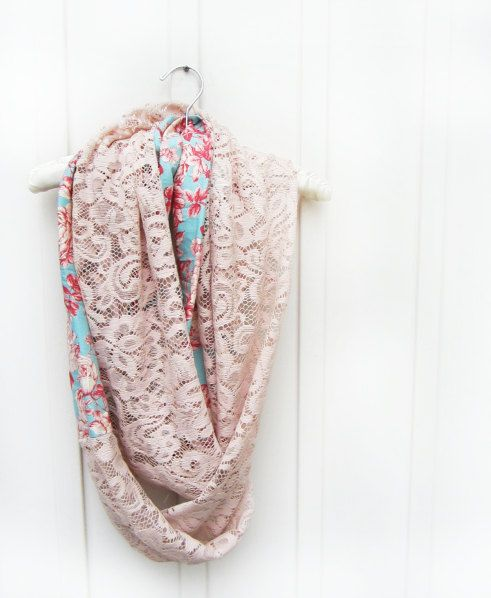 Pink Lace Scarf with Floral Accent, Pink Lace, English Rose Scarf, Tea Party Scarf, Floral Scarf , Blush Scarf, Circle Scarf , Spring Floral on Etsy, $35.00 CAD