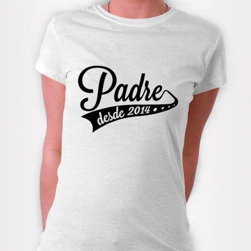 Camiseta personalizada #Regalo para el #diadelpadre  Con frase: Padre desde 2014 Diseña tus camisetas personalizadas y pídelas online en powerprint.es