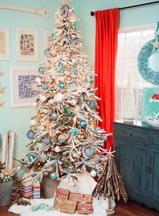 Blue White Snowy Flocked Coastal Christmas Tree Ideas Shop The Look Beach Christmas Decorations Cool Christmas Trees Christmas Tree Decorations