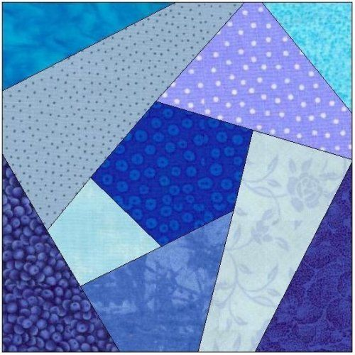Printable Quilt Block Patterns : All stitches - crazy quilt paper piecing quilt block pattern .pdf-077a Quilt patterns free ...