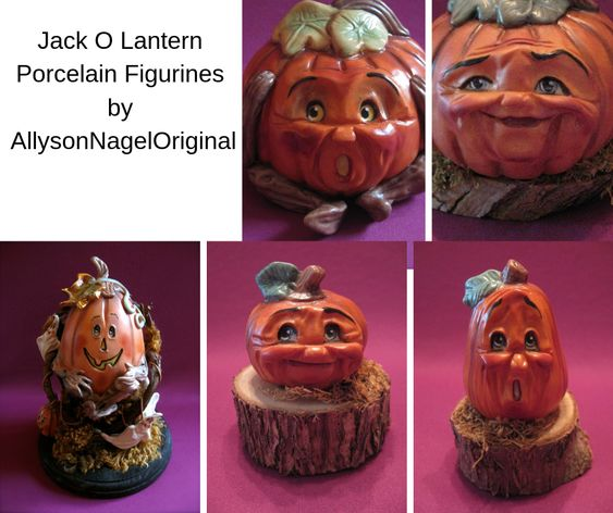 Jack O Lantern Porcelain Figurines by AllysonNagelOriginal