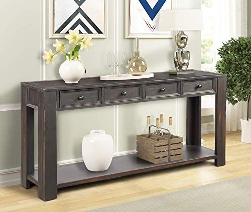 Buy P Purlove Console Table Entryway Hallway Easy Assembly 64 Long Sofa Table Drawers Bottom Shelf Black Online Top10ideas Sofa Tables Living Room Sofa Table With Storage Long Sofa Table