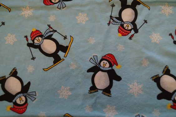 Penguins on skis fabric/ Penguins flannel fabric/ Penguins on skis/ Flannel fabric/ Fabric by the yard by HomemadeSunFabrics on Etsy