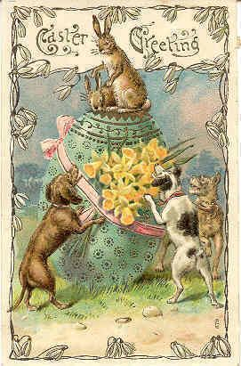 """"""" Hounding The Easter Bunny """" Karodens Vintage Post Cards.:"""