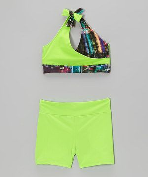 This set's vibrant colors will help inspire energy into a little dancer's routine. Fully lined and stretchy, each piece is the perfect dance partner for every practice or performance.