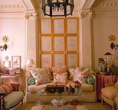 soft feminine classicism, modern acrylic coffee table