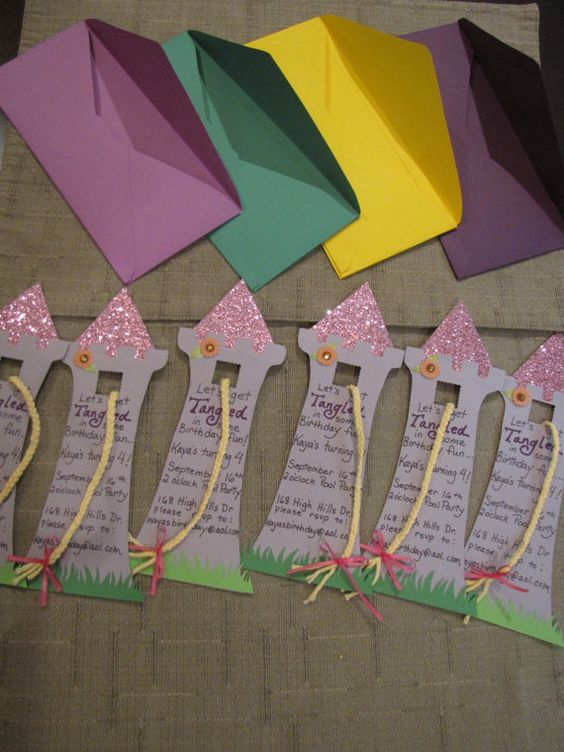"alter these ""Tangled"" birthday invitations to reflect the fairy tale ""Rapunzel"" ... written on the tower could be the answer to ""what is the first thing you would do when you escaped the tower?"""