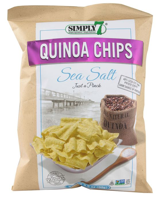 Quinoa Chips by Simply7. They are one of the BEST things we ate at the entire fancy food show - and 9g protein in a 1oz serving.