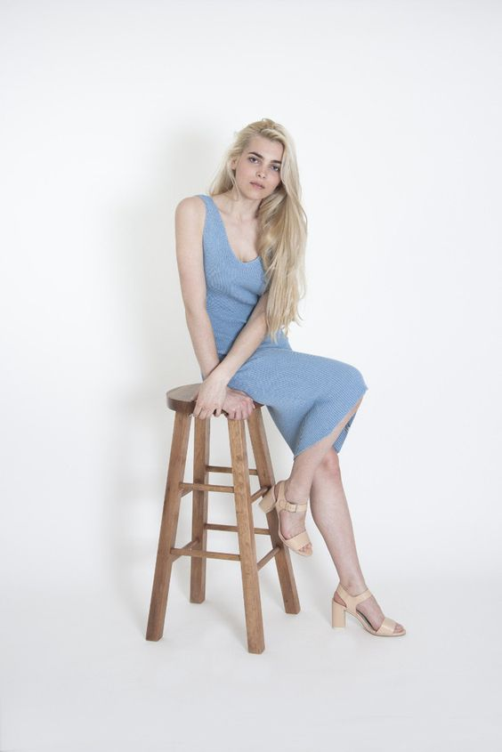 Parisian Blue bodycon #cotton dress is made from 100% #recycled cotton threads and lots of love. #fashiontips