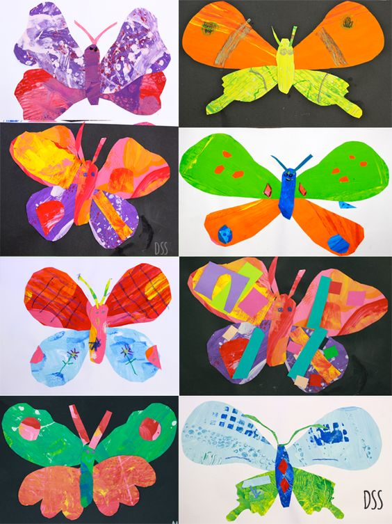 painted paper butterflies. make various patterns of paper with different tools. cut into shapes. glue to make a butterfly.