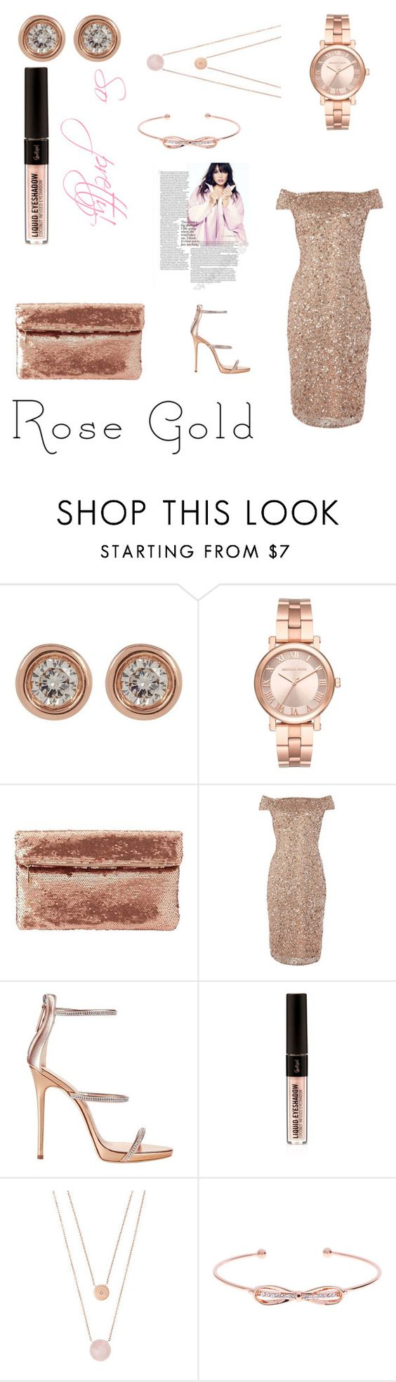 """""""Rose Gold #3"""" by rowanberry554 ❤ liked on Polyvore featuring Ron Hami, Michael Kors, Charlotte Russe, Adrianna Papell, Giuseppe Zanotti and Ted Baker"""