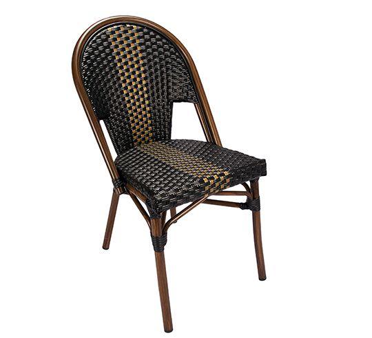 Chaise De Terrasse Parisienne Polyrotin Noir Et Dore 125 Salon D Ete Home Decor Seating Decor