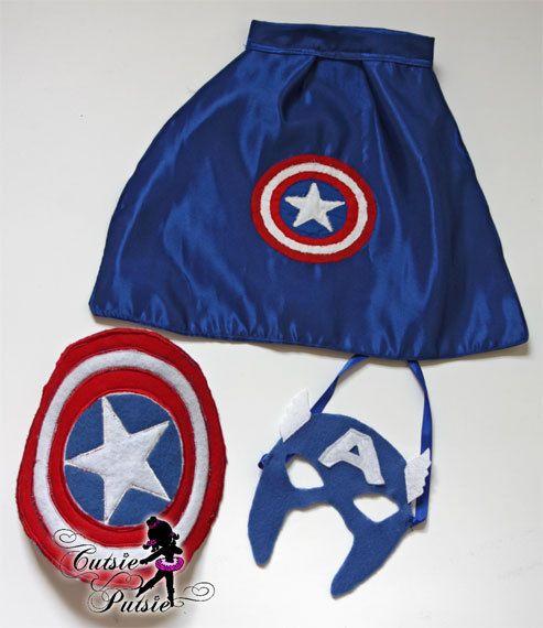 newborn captain america cape shield and mask