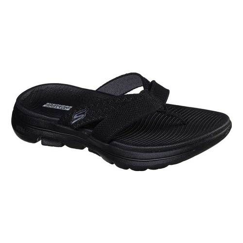 Women S Skechers Go Walk 5 Sun Kiss Flip Flop Black Gray