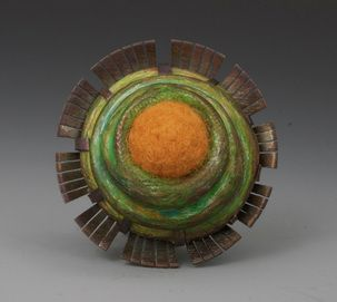 "Annie Pennington   ""Diatom Series: Frustule."" Brooch. Copper, Steel, Polymer, Wool, Colored Pencil. 1-1/4in."
