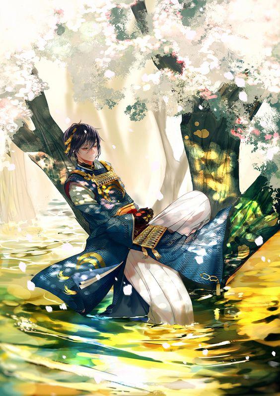 桜の木で休んでいる刀剣乱舞