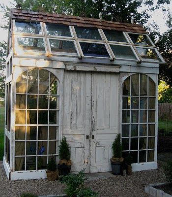 Garden shed made out of old doors and windows!  http://www.dreyne.com/p/tinker-house.html  #garden #outdoor #shed #potting #spaces #living #creative #vintage #doors #windows