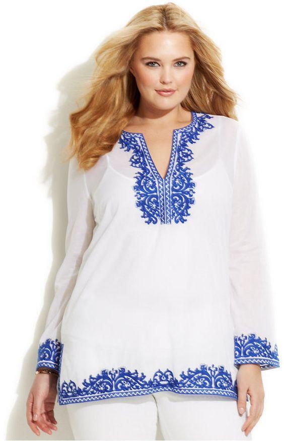 Beautiful!  Plus Size Embroidered Tunic