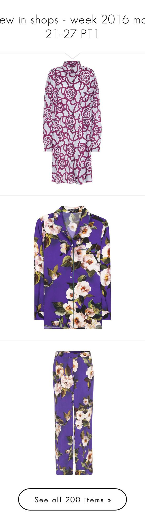 """""""new in shops - week 2016 mar 21-27 PT1"""" by aaliyah ❤ liked on Polyvore featuring dresses, purple dress, cotton blend dresses, tops, purple top, dolce gabbana top, purple silk shirt, dolce gabbana shirt, multi color shirt and pants"""
