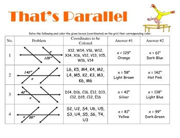 Printables Parallel Lines Cut By A Transversal Worksheet parallel lines cut by a transversal coloring grid in activity this is fun that has students answering questions based on few of the questions