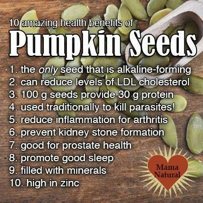 10 amazing health benefits of Pumpkin Seeds: