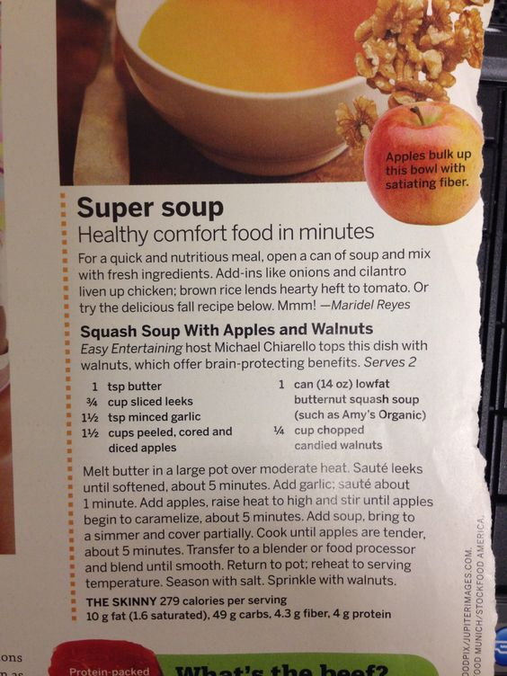 Squash soup with apples and walnuts