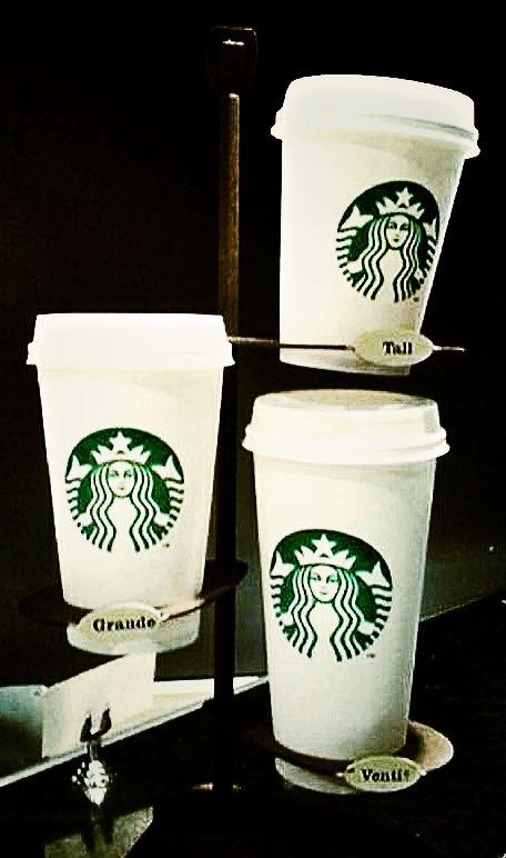 Chez Starbucks : - Tall = Petit - Grande = Médium - Venti® = Grand (20 ounces de liquide, y paraît).  © Copyright Yves Philippe
