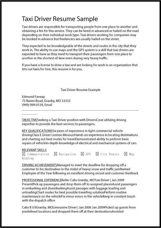 Taxi+Driver+Resume+Samplejpg (571×806) Resume ideas Pinterest - personal driver resume