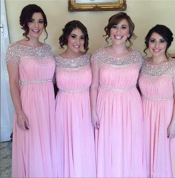 2015 Plus Size Bridesmaid Dresses With Sheer Neck Cap Sleeves Beaded Tassel Chiffon Custom Made Pink Maid Of Honor Prom Dresses On Sale 2014, $93.21 | DHgate.com: