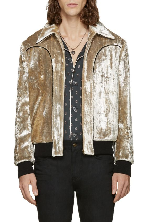 Saint Laurent Silver Velvet Teddy Bomber Jacket from SSENSE (men, style, fashion, clothing, shopping, recommendations, stylish, menswear, male, streetstyle, inspo, outfit, fall, winter, spring, summer, personal):