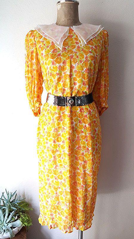 Floral Dress Size Large Babydoll Ruffle Hem Pointed Collar Japanese Ichiko Miyak #IchikoMiyake #ShirtDress #WeartoWork