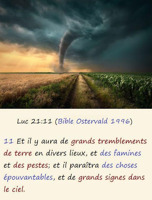 Yéshou'a Le Chemin La Vérité Et La Vie: Luc 21:11 (Bible Ostervald 1996) en  2020 | Bible, Tremblement de terre, Psaumes