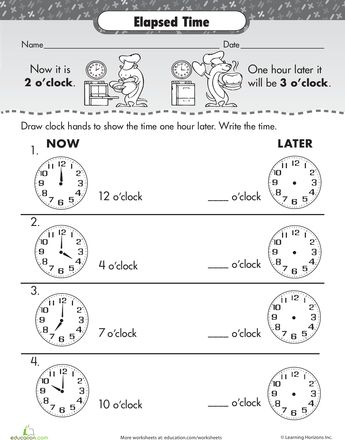 Elapsed Time: One Hour Later | Worksheets, Elapsed time and Articles