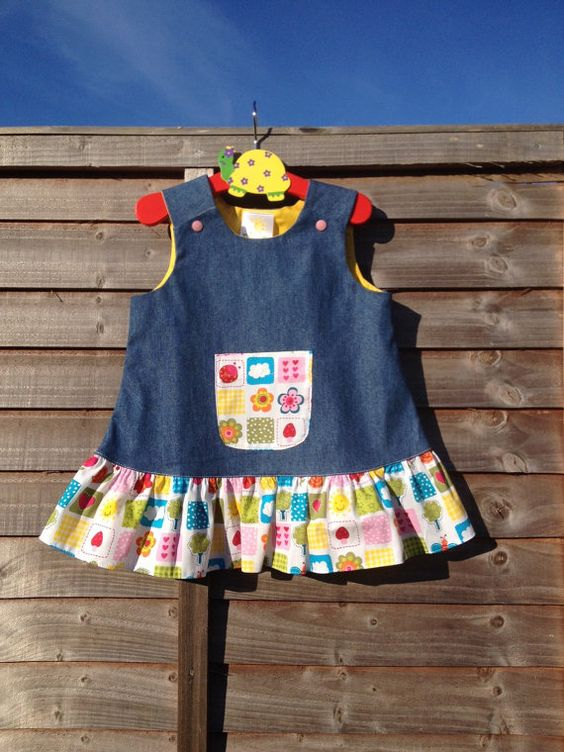 Denim pinafore dress size 6 mths 5 yrs pre-order by BlessedBe14
