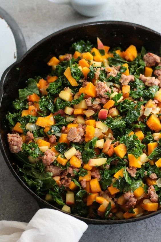 Butternut Squash and Apple Hash with Sausage