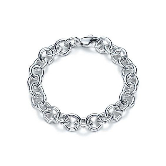Round link bracelet in sterling silver, large.