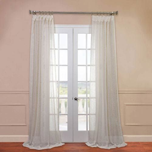 Half Price Drapes Open Weave Cream 50 X 108 Inch Linen Sheer Curtain Shlnch J0105 108 Sheer Linen Curtains Half Price Drapes Sheer Curtain Panels