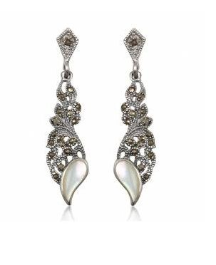 White Mother-of-Pearl Marcasite Drop Earrings  Price: £65  Available Online at: www.accessoriesofenvy.co.uk