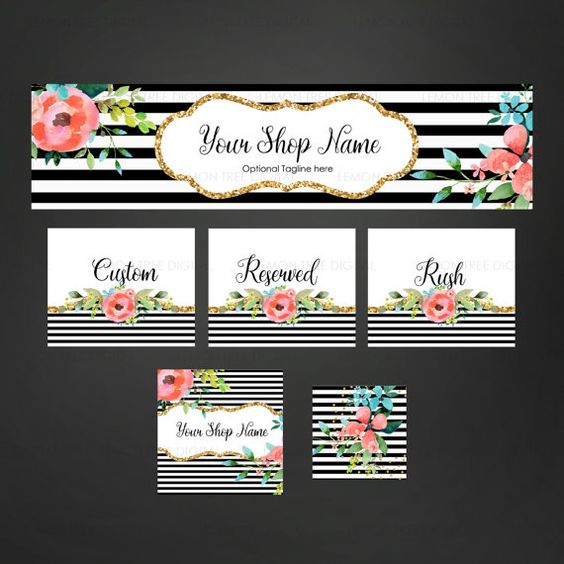 Etsy banner set etsy shop set chic etsy banner by LemonTreeDigital