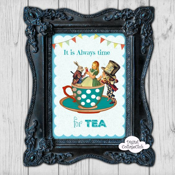 Alice in Wonderland Tea Time Party Wall Art Decor Print Illustration Wall Hanging Alice in Wonderland Party Alice White Rabbit Tea Party by DigitalCollageClub on Etsy