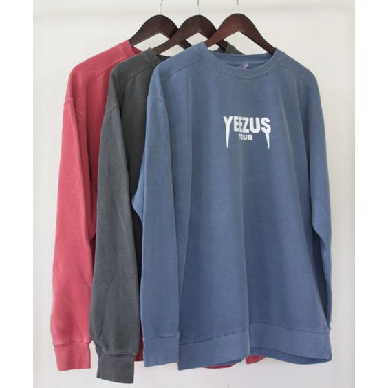 Kanye West Yeezus Tour Supersoft Crewneck Sweatshirt Many Colors... ($35) ❤ liked on Polyvore featuring tops, hoodies, sweatshirts, slouchy tops, crew-neck sweatshirts, blue sweatshirt, slouchy crew neck sweatshirt and slouchy oversized sweatshirt