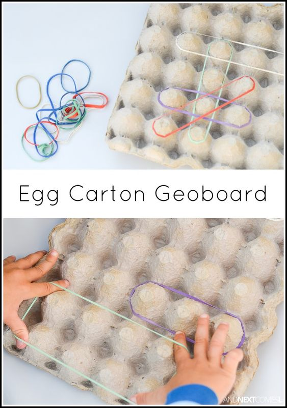 Egg carton geoboard - a simple no prep fine motor activity for kids from And…