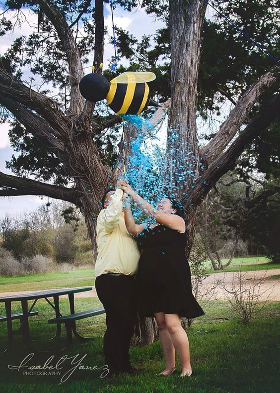 """Best """"what will it bee?"""" Reveal party idea. We used balloons and paper mâché mix found at michaels. Left a hole large enough to fit and blow up another balloon filled with confetti. Then POP! We found out we are having a boy!"""