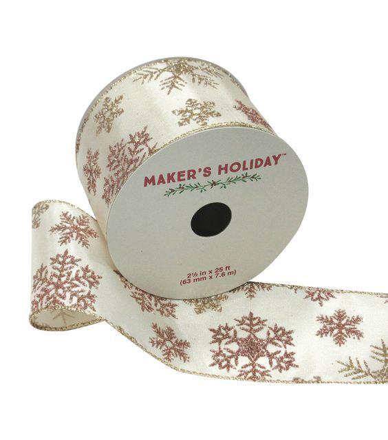 Maker's Holiday Ribbon 2.5''x25'-Gold & Pink Glitter Snowflakes