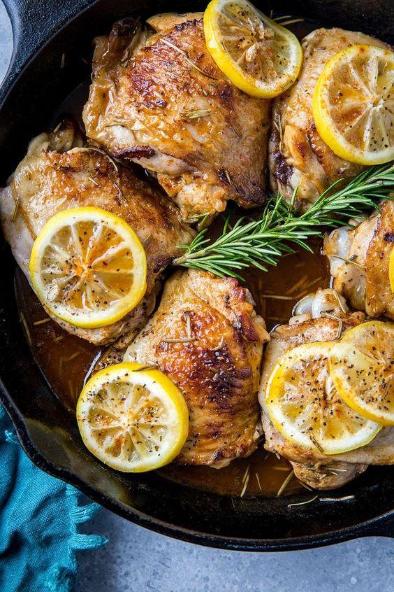 Lemon Rosemary Braised Chicken Thighs
